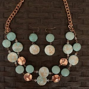 Antiqued Gold and Turquoise Jewelry Set